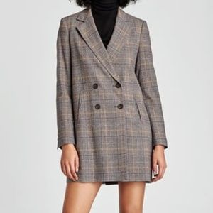 Zara Check Double-Breasted Jacket